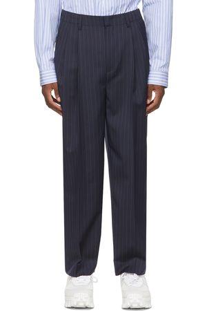 JUUN.J Navy and Wool Stripe Wide-Fit Trousers