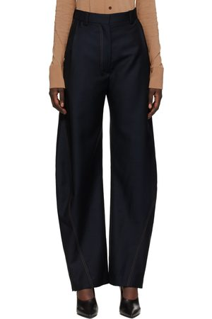 EFTYCHIA Denim Effect Grampa Trousers