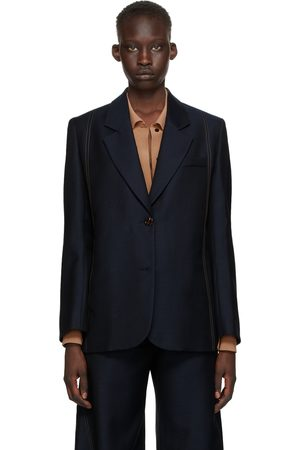 EFTYCHIA Denim Effect Single-Breasted Blazer