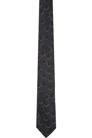 DRIES VAN NOTEN Navy and Len Lye Edition Silk Circle Tie