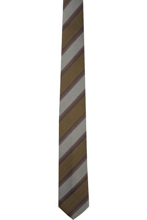 DRIES VAN NOTEN Men Neckties - Khaki Silk Striped Tie