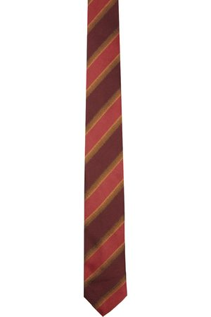 DRIES VAN NOTEN Burgundy Silk Striped Tie