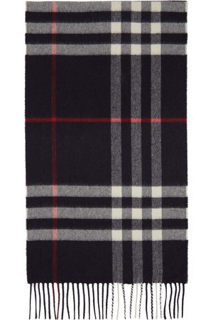 Burberry Navy Cashmere Classic Check Scarf