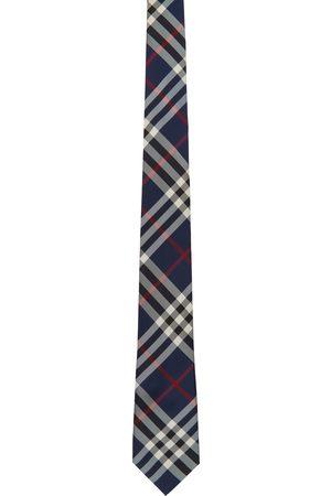 Burberry Navy Silk Modern Cut Vintage Check Tie