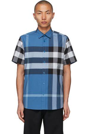 Burberry Men Short sleeves - Stretch Poplin Check Short Sleeve Shirt