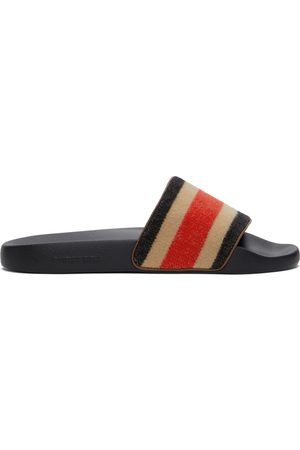Burberry And Wool Striped Furley Slides