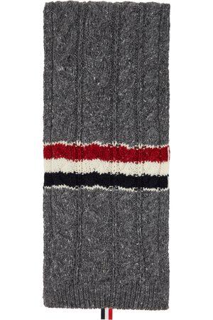 Thom Browne Online Exclusive Grey Mohair Aran RWB Stripe Scarf