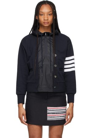 Thom Browne Navy Loopback and Ripstop 4-Bar Trompe Loeil Hoodie