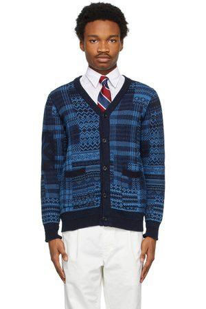 Beams Knit Jacquard Patchwork Cardigan