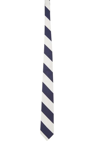 Beams Men Neckties - And Navy Silk Striped Regimental Tie