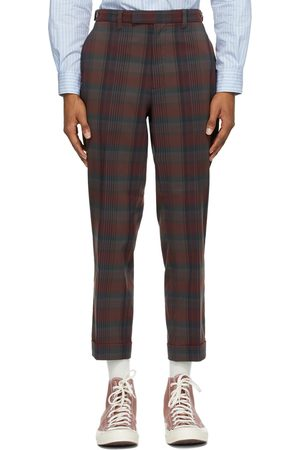 Beams Burgundy Check Ankle-Cut Trousers