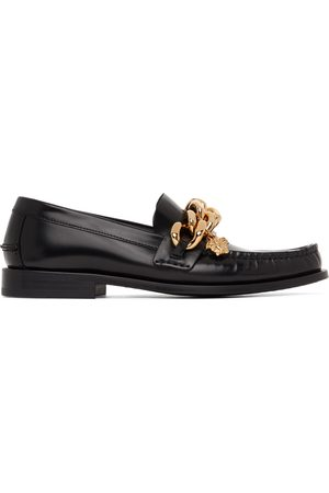 VERSACE Women Loafers - Leather Medusa Chain Loafers