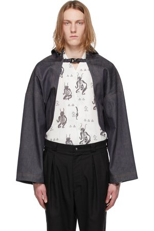 Sasquatchfabrix. Indigo Denim Three-Layer Bolero Jacket
