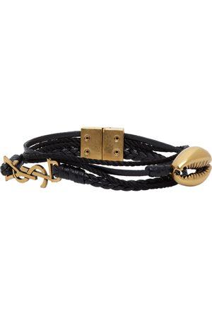 Saint Laurent Leather Braided Monogram Bracelet