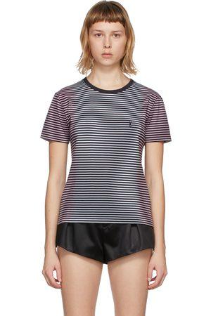 Saint Laurent Tie-Dye Striped Monogram T-Shirt