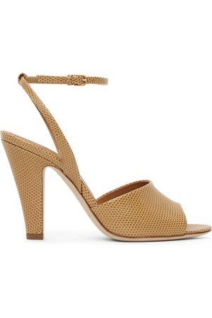 Saint Laurent Tan Lizard Scadale Heeled Sandals