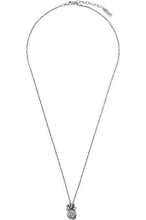 Saint Laurent Silver Pineapple Pendant Necklace