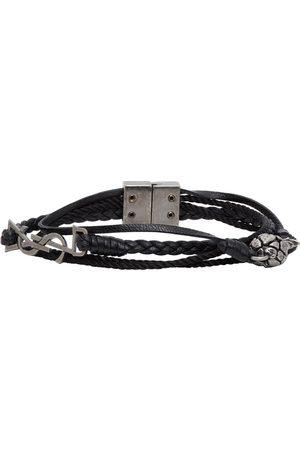 Saint Laurent Men Bracelets - Leather Braided Pineapple Monogram Bracelet