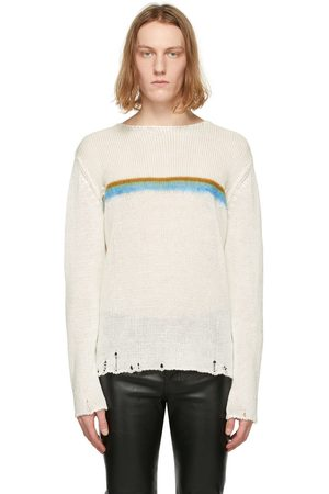 Saint Laurent Men Sweaters - Linen Destroyed Stripe Sweater