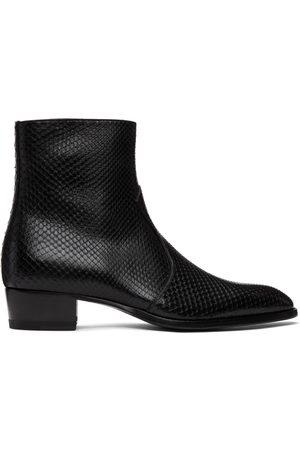 Saint Laurent Python Wyatt Zip Chelsea Boots