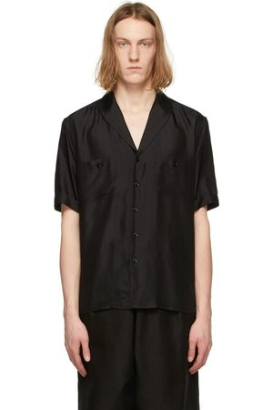 Saint Laurent Silk Voile Striated Short Sleeve Shirt