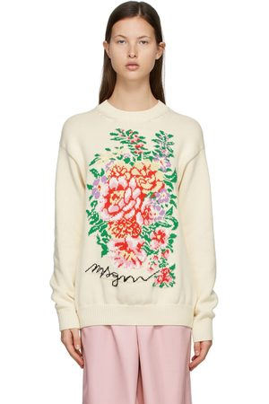 Msgm Off- Knit Floral Sweater