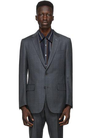 Dunhill Grey Wool Check Mayfair Blazer