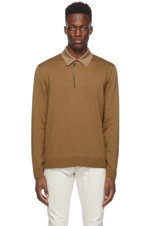 Dunhill Khaki Wool Long Sleeve Polo