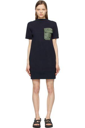 SACAI Women Dresses - Navy and Khaki Open Back Sponge Sweat T-Shirt Dress