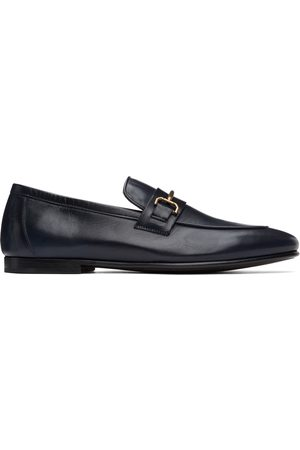 Dunhill Navy Chiltern Roller Bar Loafers