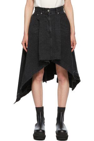 SACAI Denim Draped Asymmetric Skirt