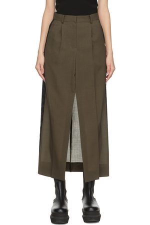 SACAI Women Midi Skirts - Khaki Wool Suiting Skirt