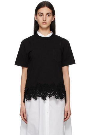 SACAI Jersey and Lace Pocket T-Shirt