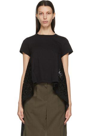 SACAI Women T-shirts - Star Lace Drape T-Shirt
