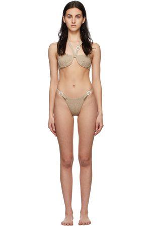 Medina Swimwear Taupe Smocked Lagoon Bikini