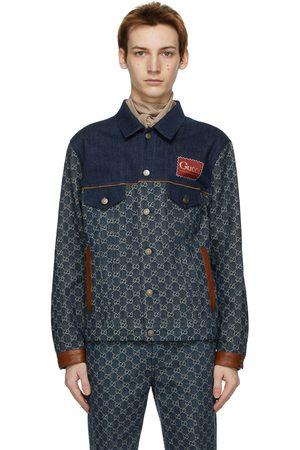Gucci Men Denim Jackets - Indigo GG Denim Jacket