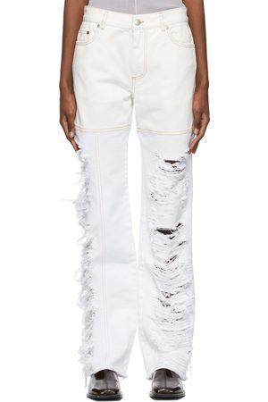 Peter Do Asymmetric Combo Rip Jeans