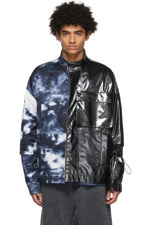 JERIH And Navy Tie-Dye Colorblock Jacket