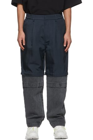 JERIH Navy and Paneled Trousers
