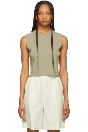 LE17SEPTEMBRE Khaki Rib Knit Tank Top