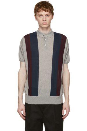 president's Grey Cotton 50s Stripe Polo