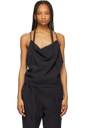 LE17SEPTEMBRE Navy Crepe Cowl Neck Tank Top