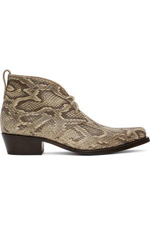 4SDESIGNS Beige Python Western Boots