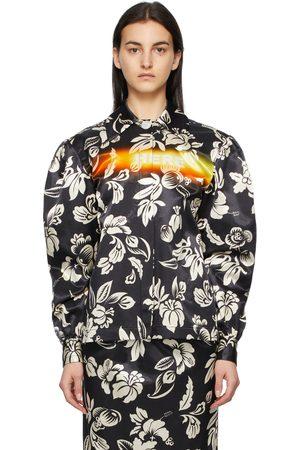 Meryll Rogge Navy Satin Tropical Neon Shirt Jacket