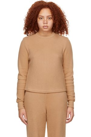 SKIMS Women Long Sleeve - Tan Waffle Long Sleeve T-Shirt