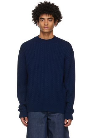 King and Tuckfield Men Sweaters - Navy Merino Chunky Sweater