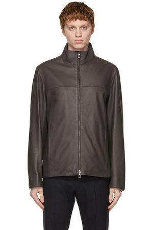 Loro Piana Grey Leather Delray Biker Jacket