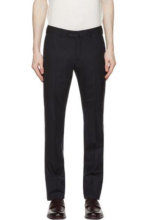 Loro Piana Navy Wool Slim Pantaflat Trousers