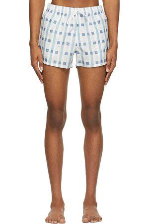 COMMAS And Art Deco Check Short Length Swim Shorts