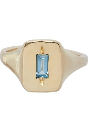 Seb Brown Aquamarine Narrow Rectangle Signet Ring